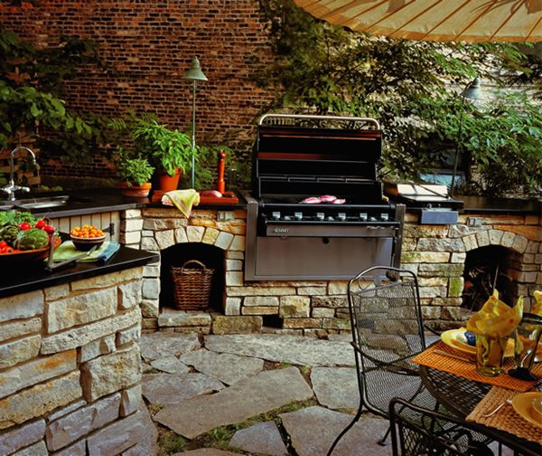 An outdoor kitchen as part of the landscape design